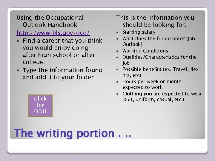 Using the Occupational Outlook Handbook http: //www. bls. gov/oco/ Find a career that you