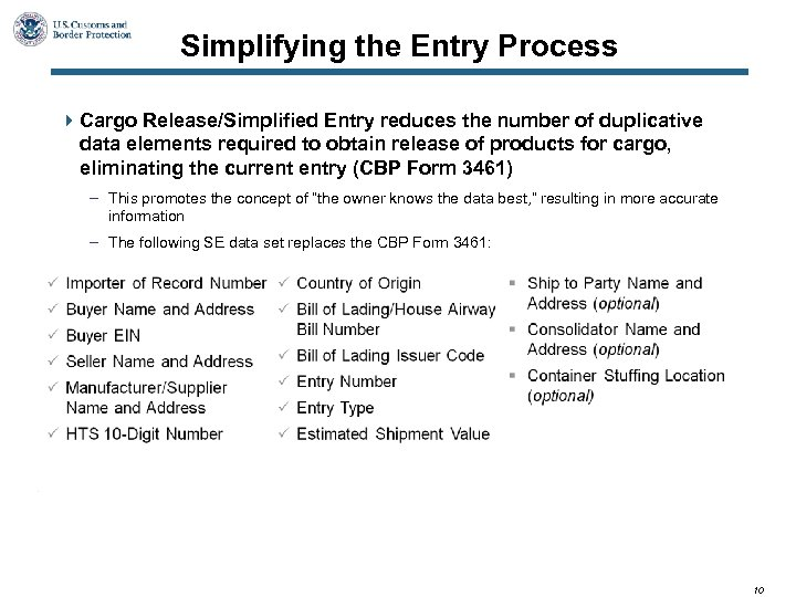 Simplifying the Entry Process 4 Cargo Release/Simplified Entry reduces the number of duplicative data