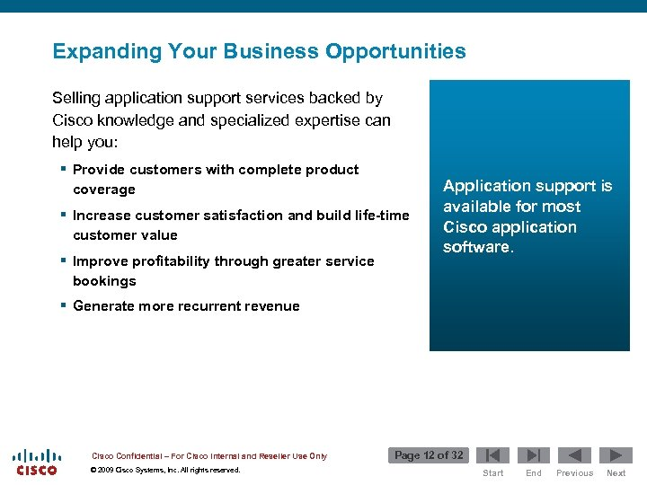 Expanding Your Business Opportunities Selling application support services backed by Cisco knowledge and specialized
