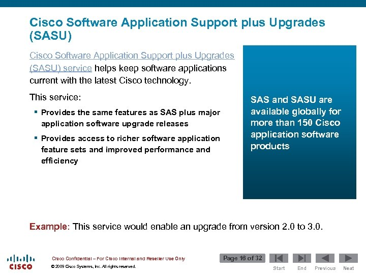 Cisco Software Application Support plus Upgrades (SASU) service helps keep software applications current with