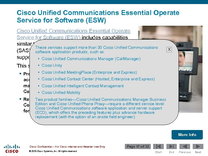 Cisco Unified Communications Essential Operate Service for Software (ESW) includes capabilities similar to the