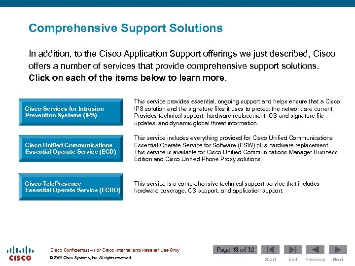 Comprehensive Support Solutions In addition, to the Cisco Application Support offerings we just described,