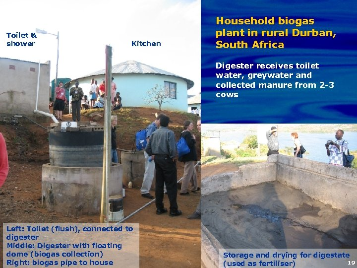 Toilet & shower Kitchen Household biogas plant in rural Durban, South Africa Digester receives