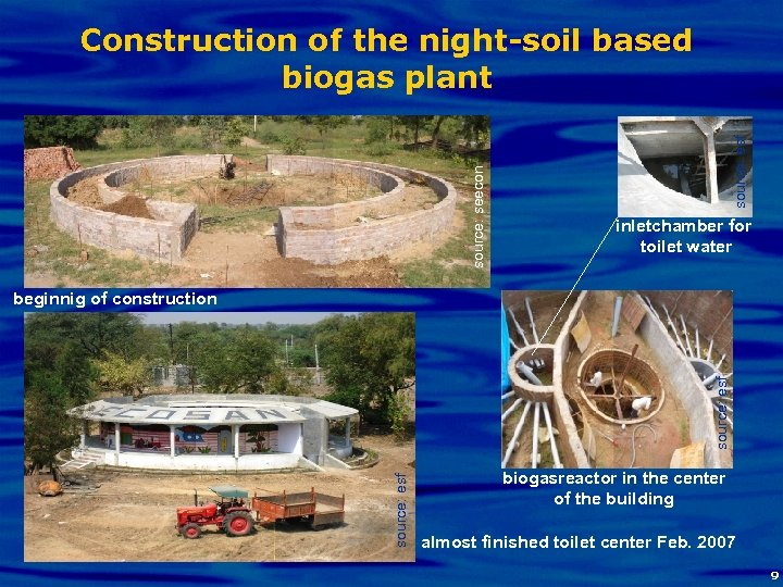 source: esf source: seecon Construction of the night-soil based biogas plant inletchamber for toilet