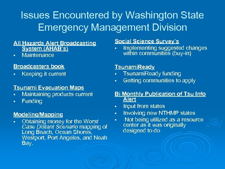 Issues Encountered by Washington State Emergency Management Division All Hazards Alert Broadcasting System (AHAB's)