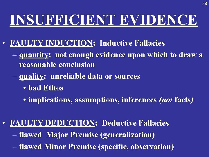 28 INSUFFICIENT EVIDENCE • FAULTY INDUCTION: Inductive Fallacies – quantity: not enough evidence upon