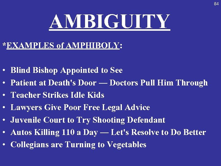 84 AMBIGUITY *EXAMPLES of AMPHIBOLY: • • Blind Bishop Appointed to See Patient at