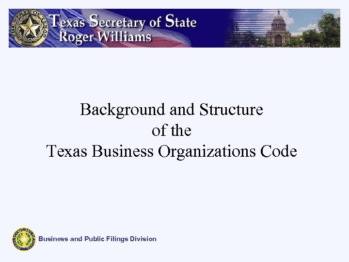 Background and Structure of the Texas Business Organizations Code Business and Public Filings Division