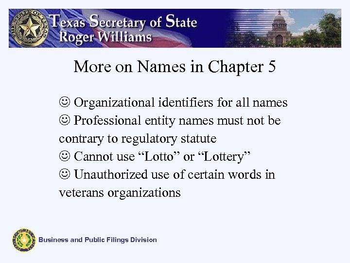 More on Names in Chapter 5 J Organizational identifiers for all names J Professional