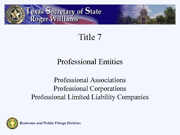 Title 7 Professional Entities Professional Associations Professional Corporations Professional Limited Liability Companies Business and