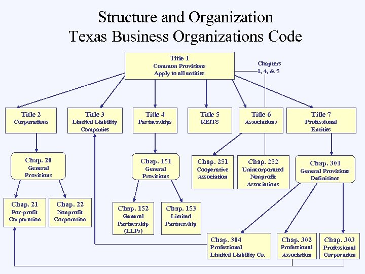 Structure and Organization Texas Business Organizations Code Title 1 Chapters 1, 4, & 5