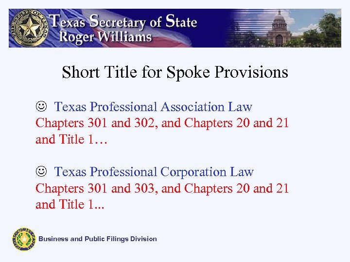 Short Title for Spoke Provisions J Texas Professional Association Law Chapters 301 and 302,
