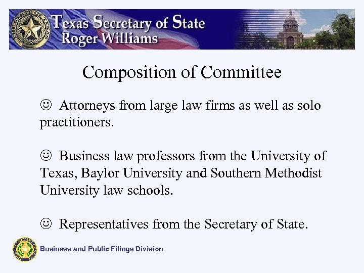 Composition of Committee J Attorneys from large law firms as well as solo practitioners.