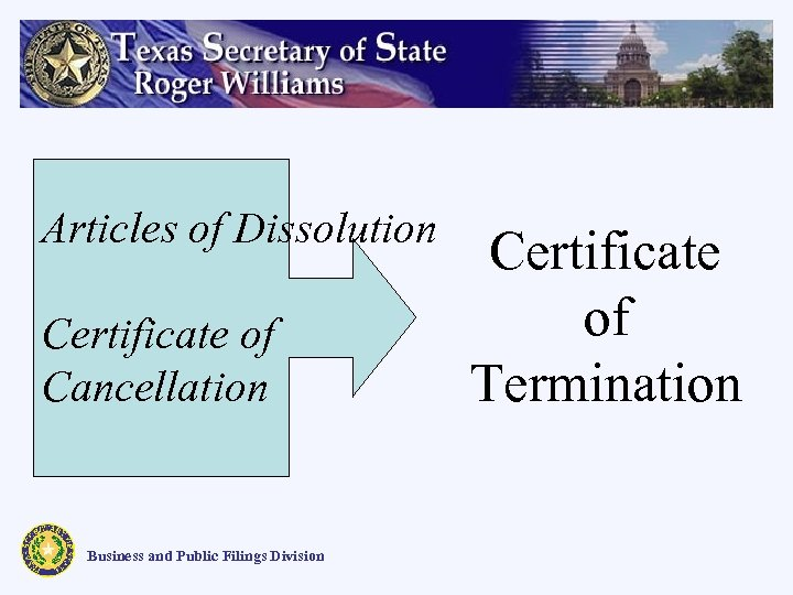 Articles of Dissolution Certificate of Cancellation Business and Public Filings Division Certificate of Termination