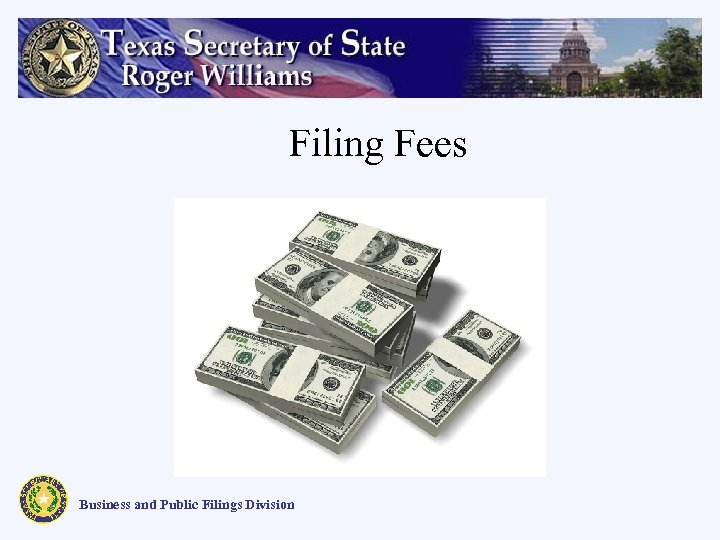 Filing Fees Business and Public Filings Division