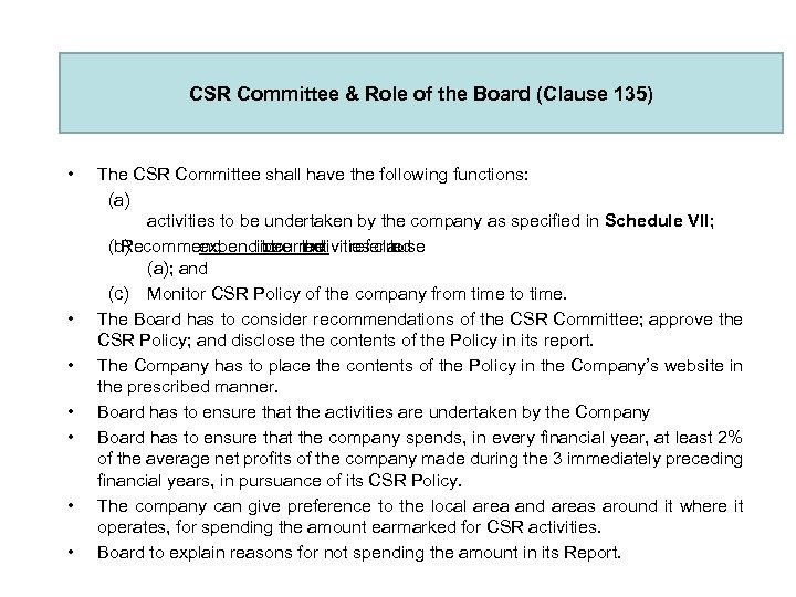 CSR Committee & Role of the Board (Clause 135) • • The CSR Committee