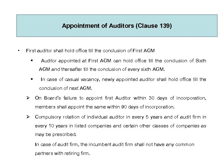 Appointment of Auditors (Clause 139) • First auditor shall hold office till the conclusion