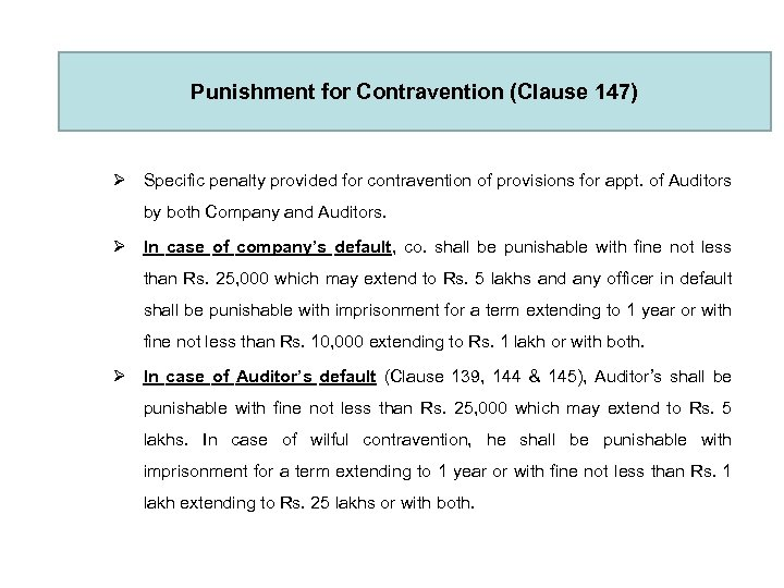 Punishment for Contravention (Clause 147) Ø Specific penalty provided for contravention of provisions for