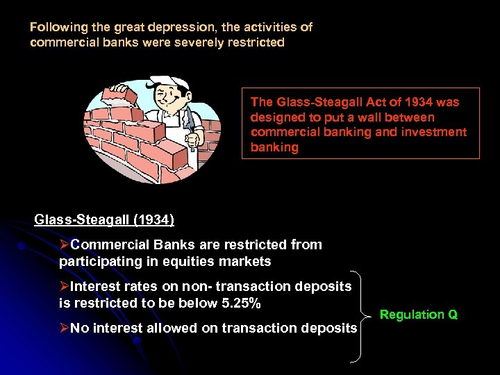 Following the great depression, the activities of commercial banks were severely restricted The Glass-Steagall