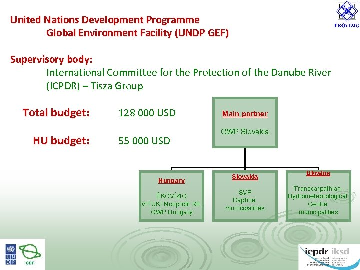 United Nations Development Programme Global Environment Facility (UNDP GEF) Supervisory body: International Committee for