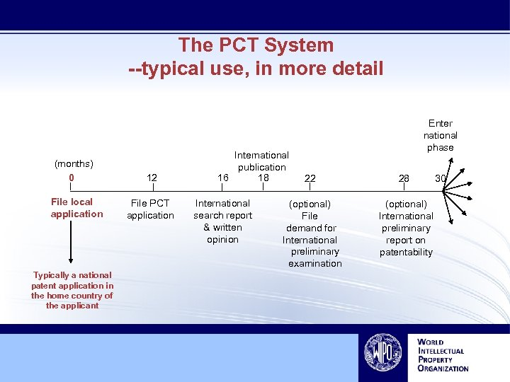 The PCT System --typical use, in more detail (months) 0 File local application Typically