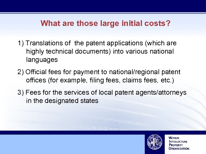 What are those large initial costs? 1) Translations of the patent applications (which are