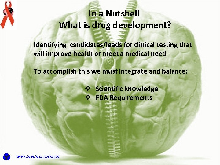 In a Nutshell What is drug development? Identifying candidates/leads for clinical testing that will