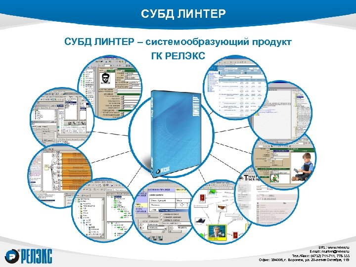 СУБД ЛИНТЕР – системообразующий продукт ГК РЕЛЭКС URL: www. relex. ru E-mail: market@relex. ru