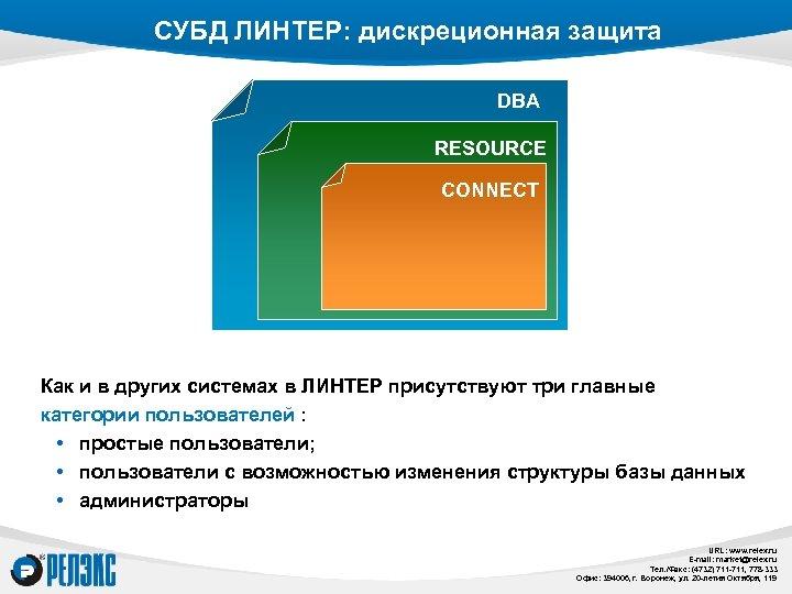 СУБД ЛИНТЕР: дискреционная защита DBA RESOURCE CONNECT Как и в других системах в ЛИНТЕР