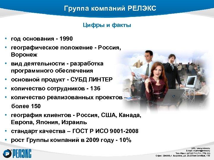 Группа компаний РЕЛЭКС Цифры и факты • год основания - 1990 • географическое положение