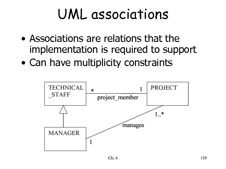 UML associations • Associations are relations that the implementation is required to support •