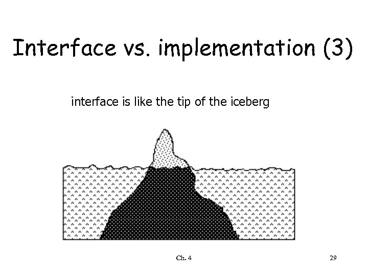 Interface vs. implementation (3) interface is like the tip of the iceberg Ch. 4