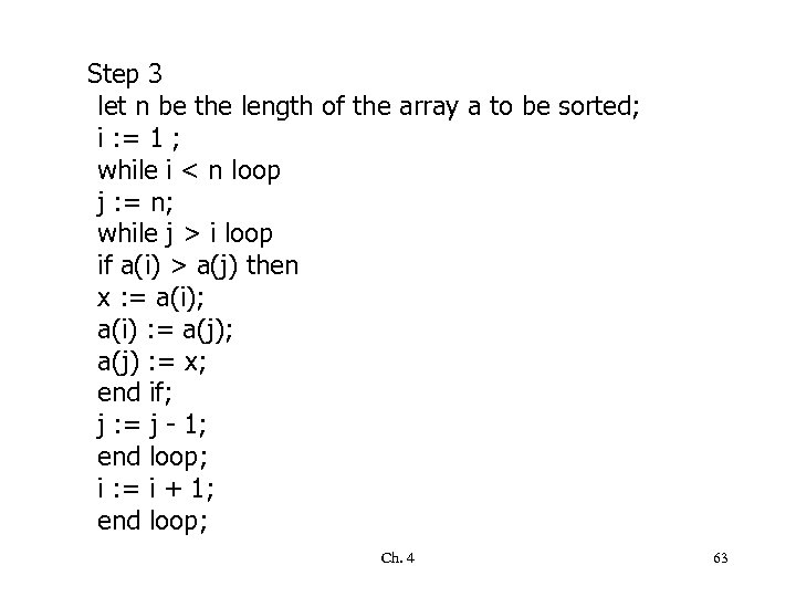 Step 3 let n be the length of the array a to be sorted;