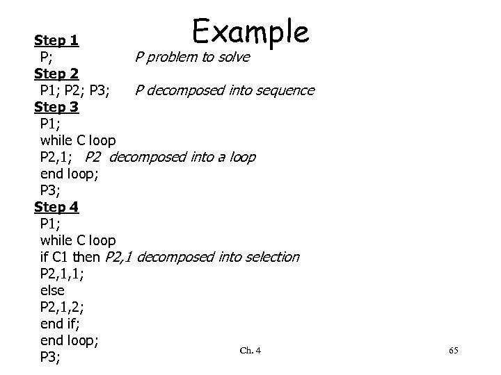Example Step 1 P; P problem to solve Step 2 P 1; P 2;