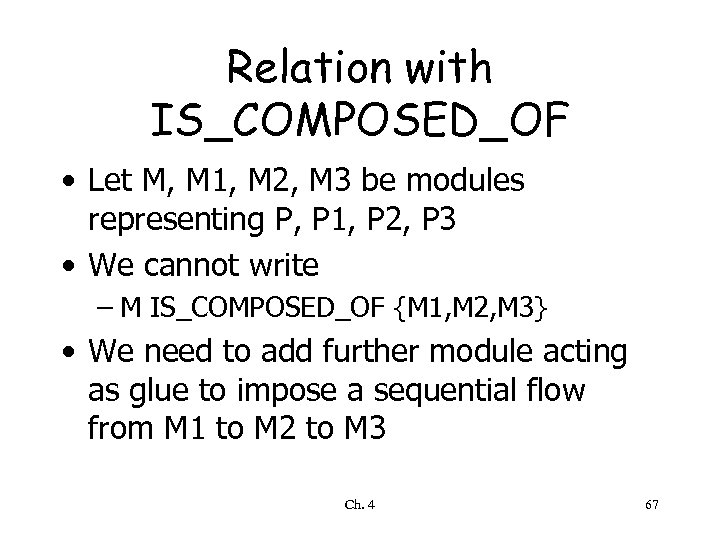 Relation with IS_COMPOSED_OF • Let M, M 1, M 2, M 3 be modules