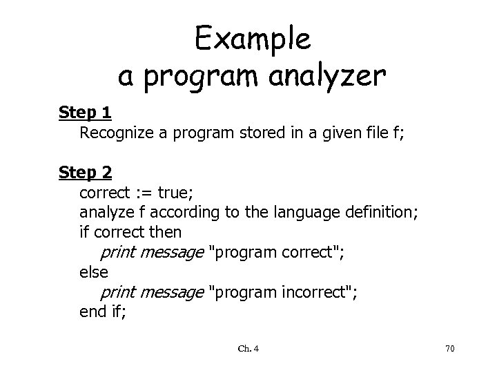 Example a program analyzer Step 1 Recognize a program stored in a given file