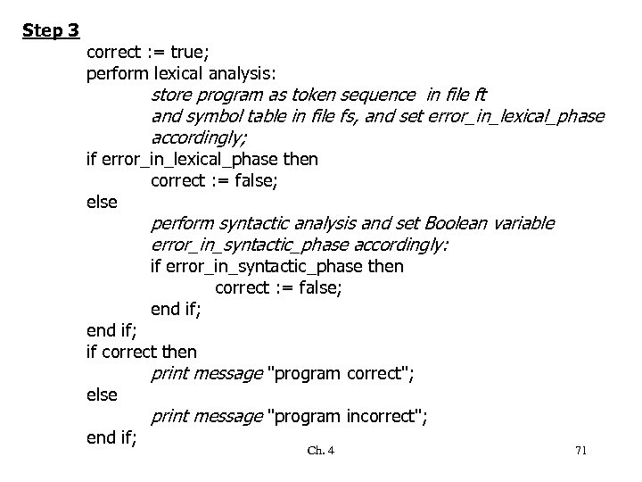 Step 3 correct : = true; perform lexical analysis: store program as token sequence