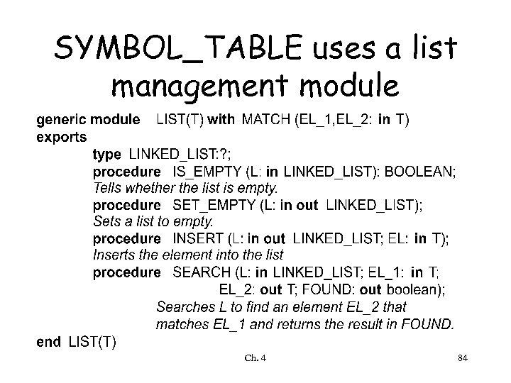 SYMBOL_TABLE uses a list management module Ch. 4 84