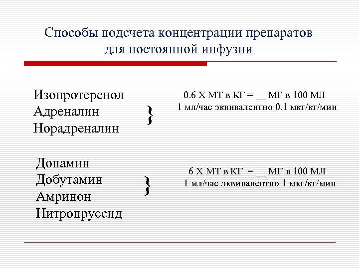 Способы подсчета концентрации препаратов для постоянной инфузии Изопротеренол Адреналин Норадреналин Допамин Добутамин Амринон Нитропруссид