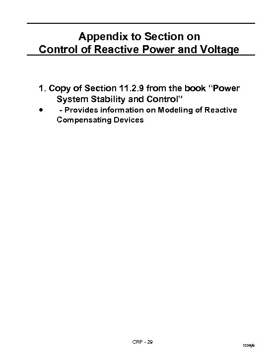 Appendix to Section on Control of Reactive Power and Voltage 1. Copy of Section