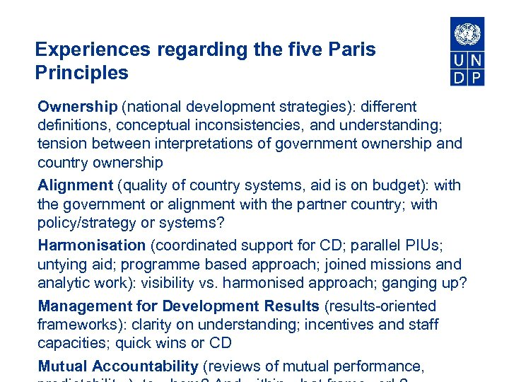 Experiences regarding the five Paris Principles Ownership (national development strategies): different definitions, conceptual inconsistencies,
