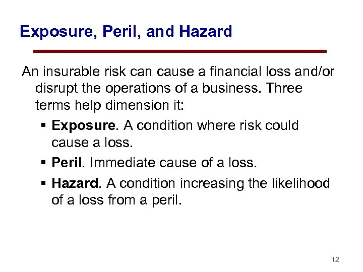 Exposure, Peril, and Hazard An insurable risk can cause a financial loss and/or disrupt