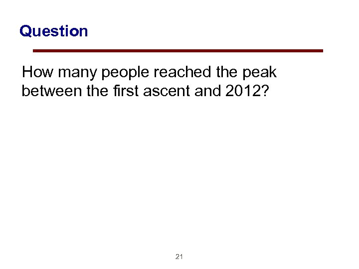 Question How many people reached the peak between the first ascent and 2012? 21