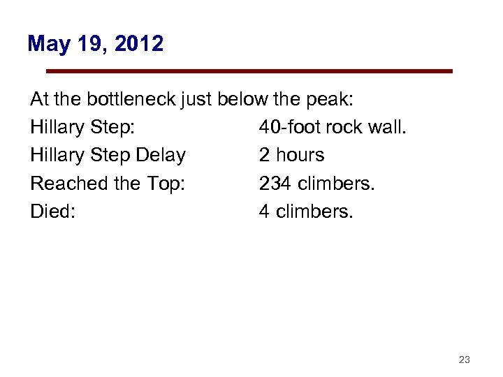 May 19, 2012 At the bottleneck just below the peak: Hillary Step: 40 -foot