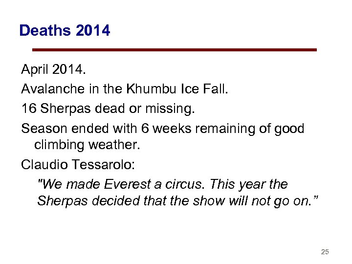 Deaths 2014 April 2014. Avalanche in the Khumbu Ice Fall. 16 Sherpas dead or