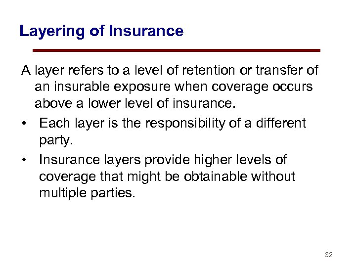 Layering of Insurance A layer refers to a level of retention or transfer of
