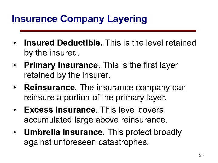 Insurance Company Layering • Insured Deductible. This is the level retained by the insured.