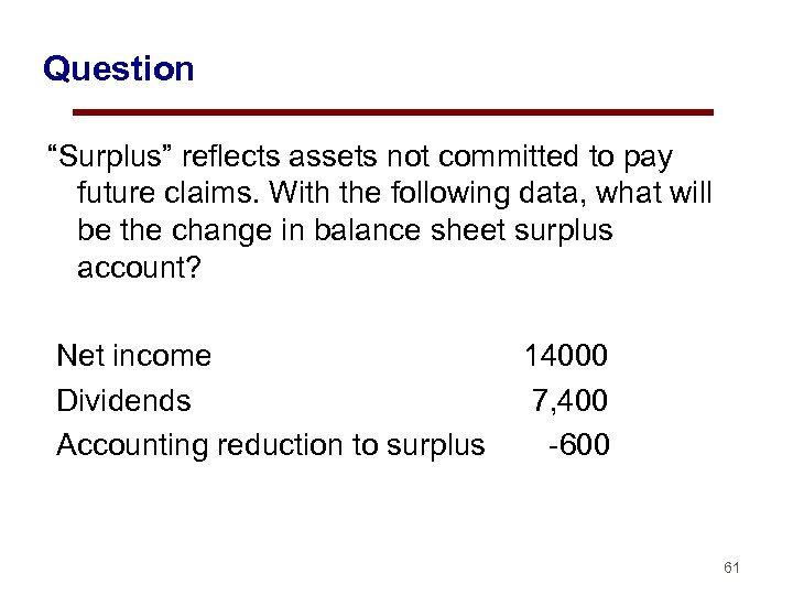 """Question """"Surplus"""" reflects assets not committed to pay future claims. With the following data,"""