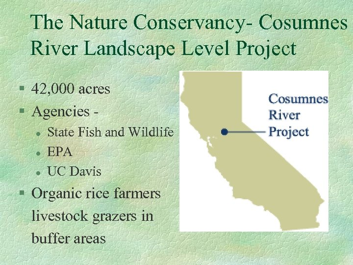 The Nature Conservancy- Cosumnes River Landscape Level Project § 42, 000 acres § Agencies