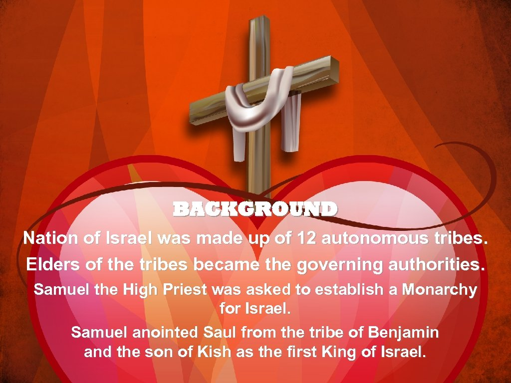BACKGROUND Nation of Israel was made up of 12 autonomous tribes. Elders of the